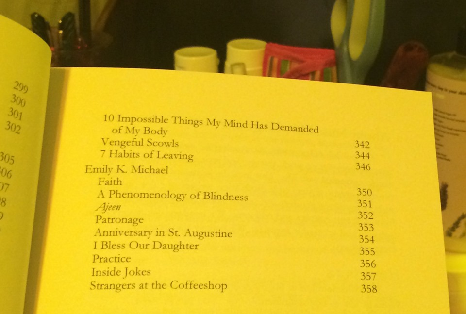 Table of contents featuring Emily K. Michael's 9 poems